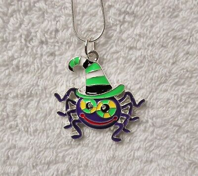 Cartoon SPIDER Inspired Large Charm NECKLACE 20 Inch Snake Chain Halloween (Cartoon Halloween Spider)