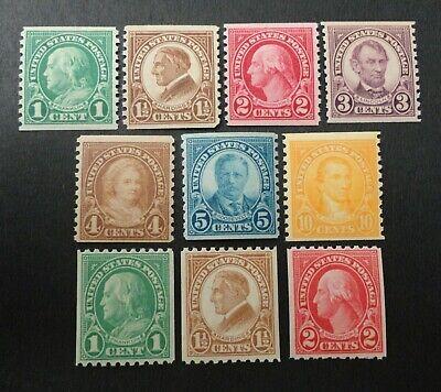 SCOTT #597-606 MINT NH 1923-1929  PORTRAIT STAMPS COILS  SET