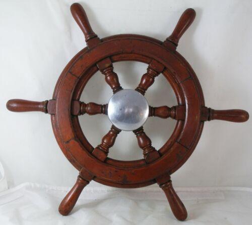 "Antique salvaged Helm Wheel  Ship wheel   19.5"" Mahogany, Nautical gifts"