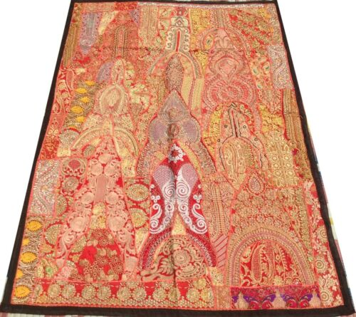 Indian Patchwork Tapestry Wall Hanging Golden Handmade Embroidery India Boho