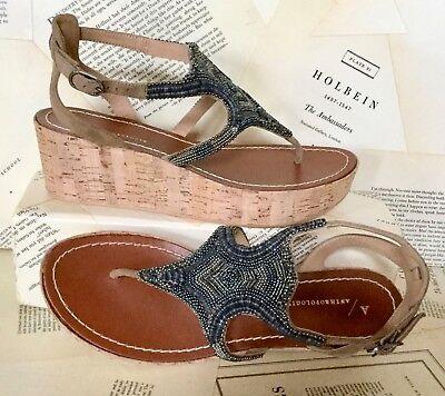 Anthropologie Sandal Wedge Gunmetal Silver Bead Cork Platform Thong 38  8 NEW