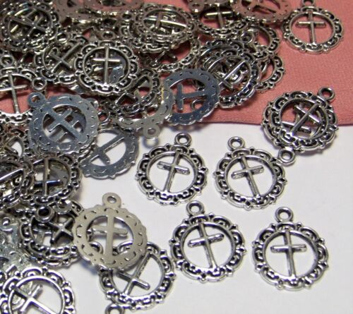 60 SILVER CROSS CHARMS-RELIGIOUS-PENDANTS-LIGHT/THIN-ORNATE-JEWELRY FINDINGS