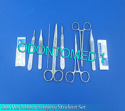 208 Pc Minor Surgery Student Set Veterinary Surgical Dental Forceps Instruments