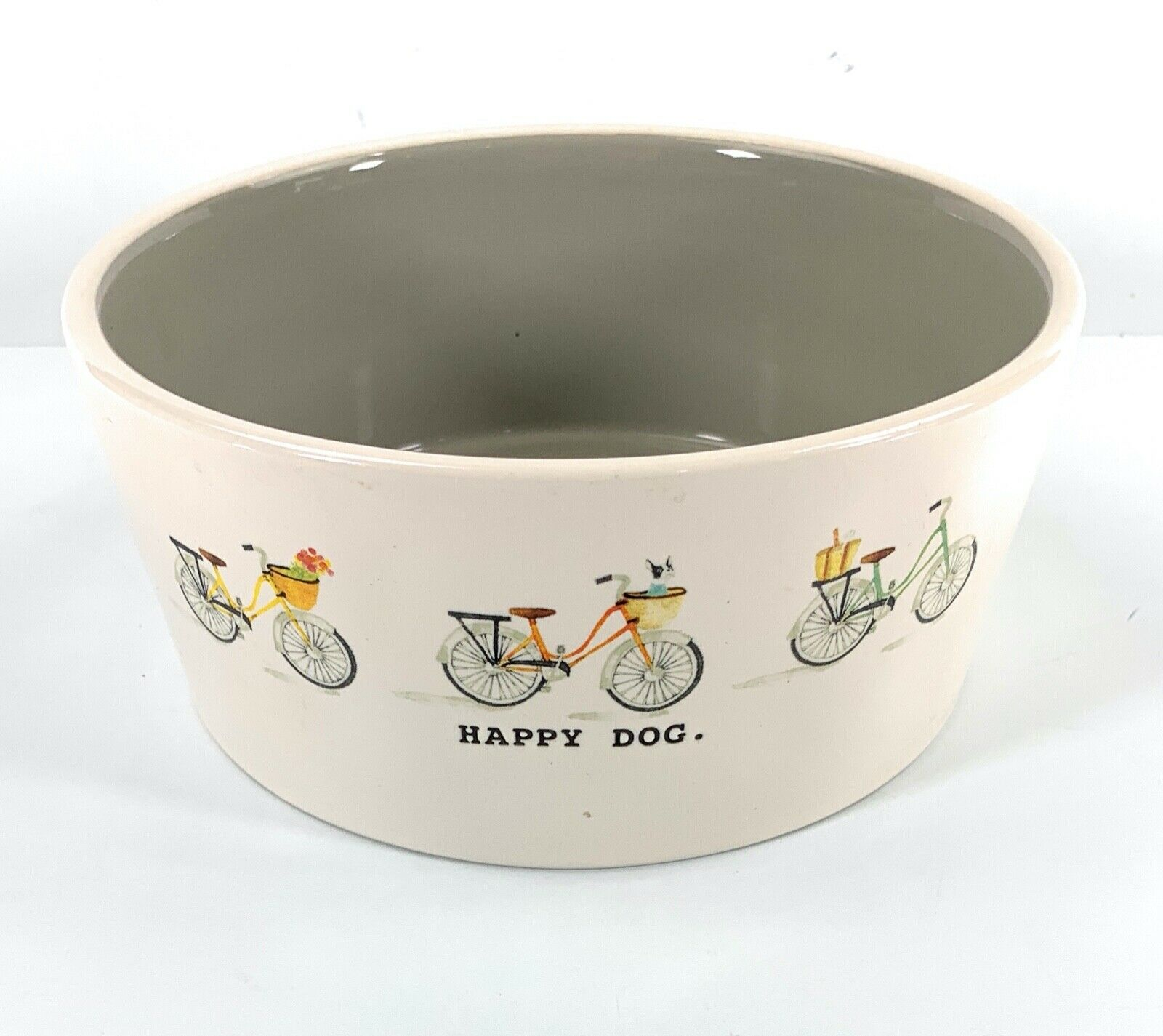 Rae Dunn Artisan Collection Pet Food Pottery Bowl Gray Taupe Happy Dog Bicycles