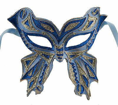 Mask from Venice Farfella Blue Silver Glitter Butterfly Paper Mache 22528