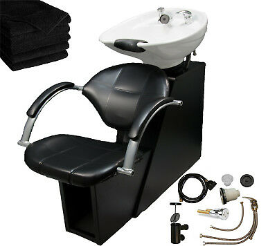 White Backwash Ceramic Shampoo Bowl Sink Chair Station Beauty Salon (Station Equipment)