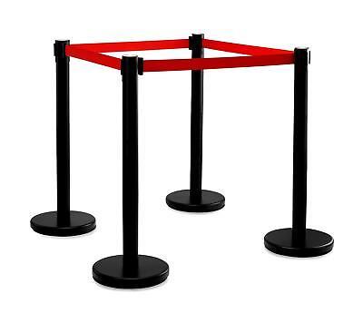 Super repräsentative VIP-Absperrpfosten, 4 Ständer mit ausziehbarem Gurt schwarz