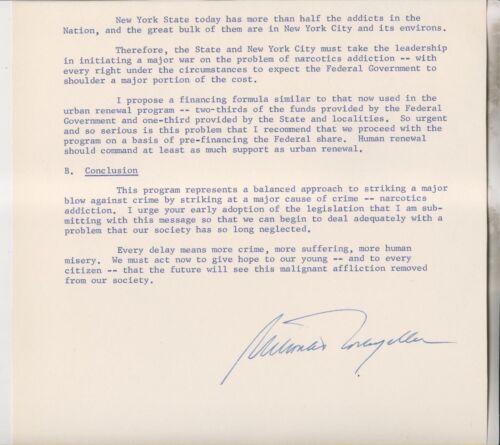 NEW YORK STATE GOVERNOR NELSON ROCKEFELLER SIGNED DOCUMENT