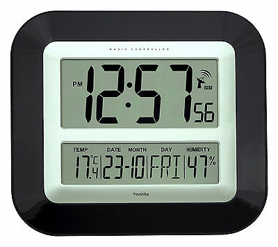 Jumbo LCD Radio Controlled Wall Clock with Temperature and Humidity display