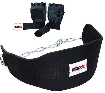 madx sollevamento pesi immersione DIP Cintura neoprene con catena senza Guanti