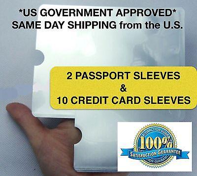 RFID High Level Blocking Sleeves (10 Credit Card & 2 Passport) Anti Theft Shield