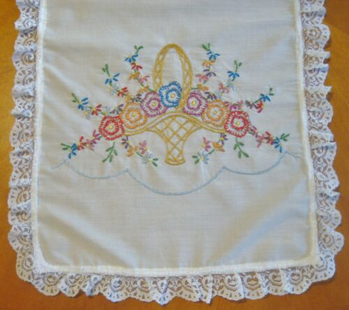VTG Hand Embroidered Basket flower butterfly with lace trim at edges 36x12