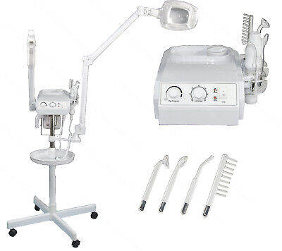 3 in 1 Facial Steamer 5x Magnifying Lamp High Frequency Machine Salon Equipment