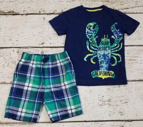 "GYMBOREE Boys ""Tide Pool"" Blue Green Lobster Shirt and Plaid Shorts 6 EUC"