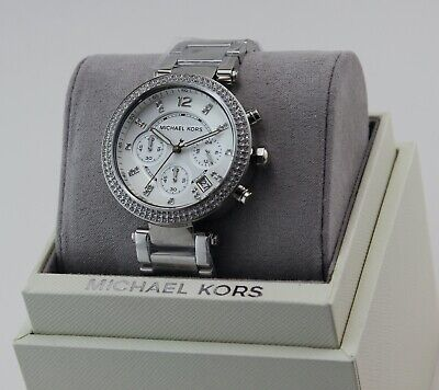 NEW AUTHENTIC MICHAEL KORS PARKER SILVER CRYSTALS CHRONOGRAPH WOMEN MK5353 WATCH