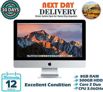 "Apple iMac 21.5"" Intel Core 2 Duo 3.06GHz 8GB RAM 500GB HDD El Capitan A Grade"