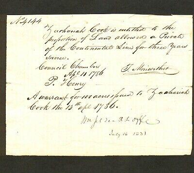 VA Military Certificate #4144 - Revolutionary Continental Line - Zachariah Cook