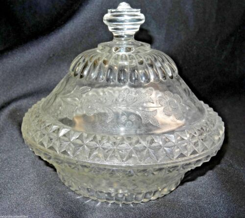 Antique Adams Glass Wildflower Clear Covered Dome Butter Bowl