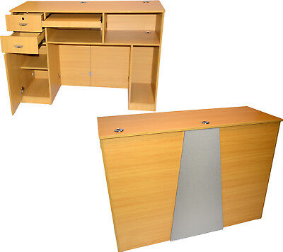 Extra Large Oak Reception Computer Desk Locking Drawer Salon Beauty Equipment