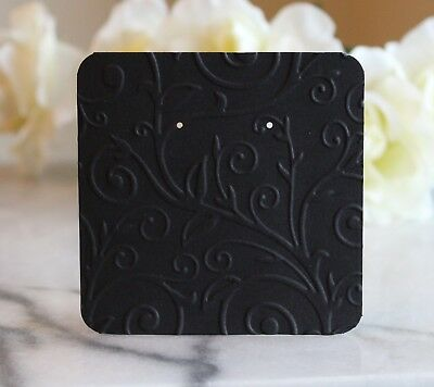 25 Black Swirl Earring Cards - 3x3 Beautifully Embossed Jewelry Cards - New