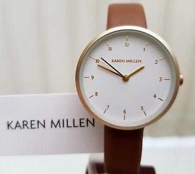 New KAREN MILLEN Ladies Watch Tan Genuine Leather strap IDEAL GIFT!! RRP £120 !