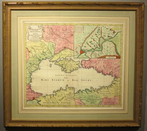 c.1760 antique map Black Sea Ukraine Russia Turkey Romania Odessa Istanbul