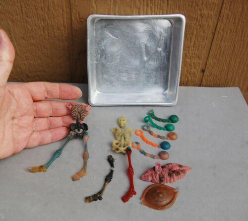 Mattel Thing Maker 1966 Vintage Parts Plastic Skeleton Figure Eyeball Lips Tray