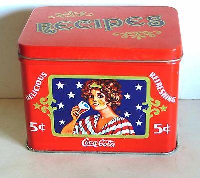 "Red 1980s Metal Coca Cola Recipe Tin Delicious Refreshing 4x3.5x4"" FREE SH"