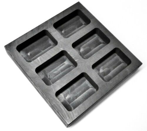 10oz Graphite Ingot Mold 6 Cavity Melt Pour Gold Bars Melting Refining Metal