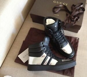 Authentic Gucci Leather Hi-Top Sneakers