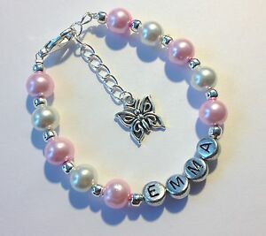 Pink butterfly charm girls personalised bracelet, jewellery - any name gift!