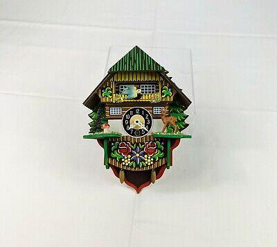 Small Wooden Germany Coo-coo Cuckoo Windup Clock Deer Bird Wooden Repair Prop