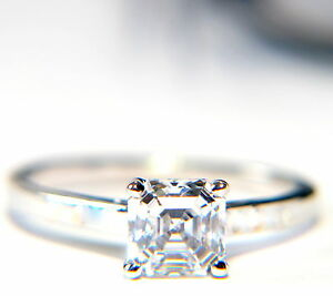 9Ct Gold 1Ct Asscher Cut Diamond Solitaire Engagement Ring I-P Free Engrave/Box!