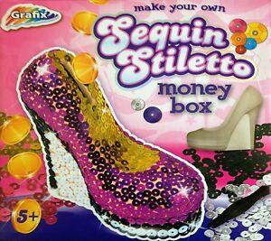 Make Your Own Sequin Stiletto Money Box Girls Crafts