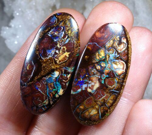 67cts Amazing Pattern Boulder Yowah Pair Opal Polished Stones QLD, Australia ✨