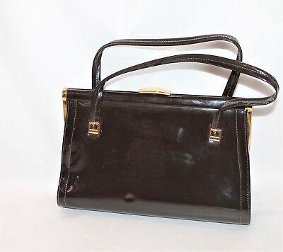 1950s Handbags, Purses, and Evening Bag Styles LANZA Brand Retro Vintage Brown Patent Hangbag Purse $15.49 AT vintagedancer.com