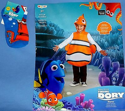 Disney NEMO Costume-Finding Dory;child 4-6-Ocean Fish;tunic-headpiece;socks;LOT