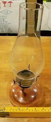 "12"" tall VINTAGE CLEAR GLASS & BRASS ANTIQUE OIL LAMP"