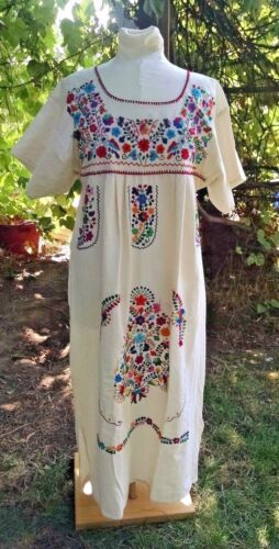Mexican Dress Huipil S M Ivory Manta Hand Embroidered Colorful Flowers Oaxaca
