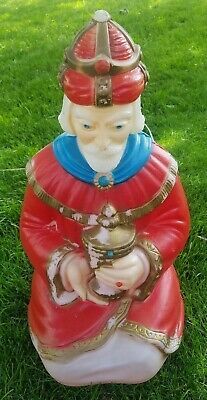 Vintage Wise Man Red Cape Kneeling Large Nativity Xmas Empire Blow Mold Yard 25""
