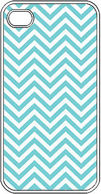 Chevron Aqua Blue Designed Iphone 4 4s Hard Clear Case Cover