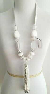 Antique Art Deco Glass bead Necklace Sale tassels jewelry Flapper Estate silver long 48 inches