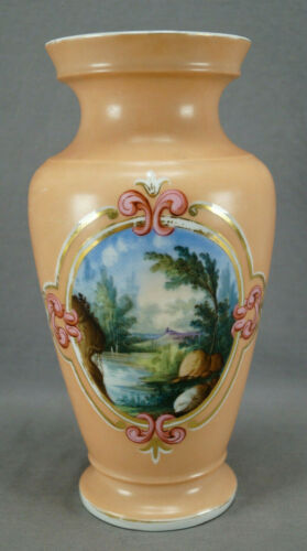 Old Paris Hand Painted Landscape Scene Pink Gold Scrollwork & Peach Vase C1860 A