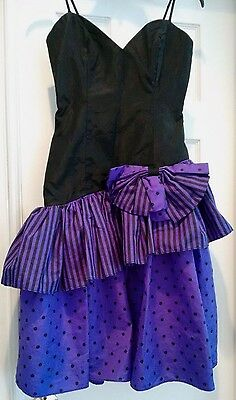 Vintage Loralie Poofy Prom Dress Purple Black Bow Polka Dot Stripes Formal Sz 4