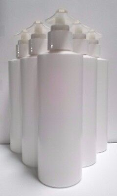 32 BOTTLES 8oz White HDPE Plastic Cylinder Bottle Container Cream Liquid Storage (Plastic Cylinder Containers)