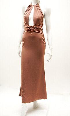 NBD Chain Necklace Brown Halter Plunge Dress Sz S (Chain Necklace Halter Dress)