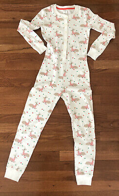 Girls In Pj (Mini Boden girls youth all in one pajamas reindeer Size 10 140)
