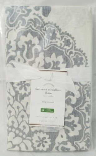 "Pottery Barn Lucianna Medallion Pillow Sham King 36"" x 20"" Grey - Free Shipping"
