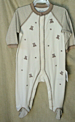 LITTLE ME 100% Cotton Long Sleeve Oatmeal BABY BEAR Footie SIZE 6 MO NWT