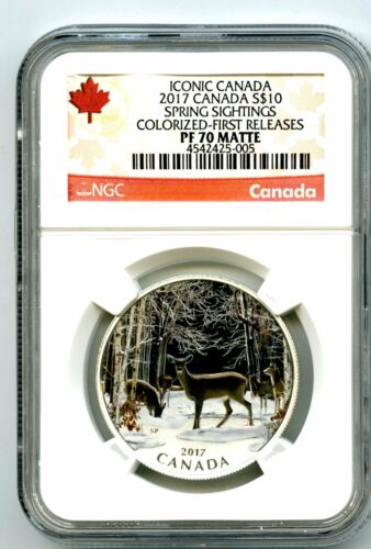 2017 $10 CANADA SILVER PROOF NGC PF70 MATTE SPRING SIGHTINGS DEER FIRST RELEASES
